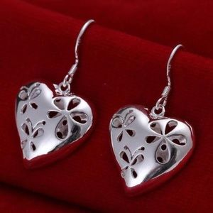 Jewelry - Floral Butterfly Sterling Heart Earrings